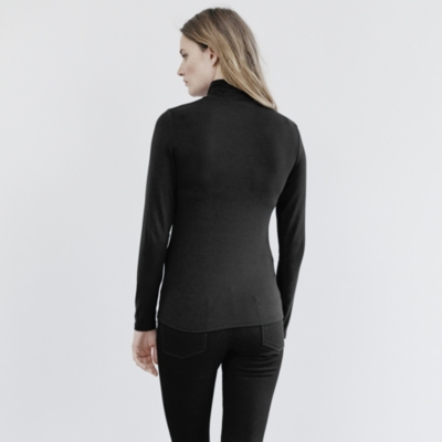 Jersey Roll Neck Top - Black