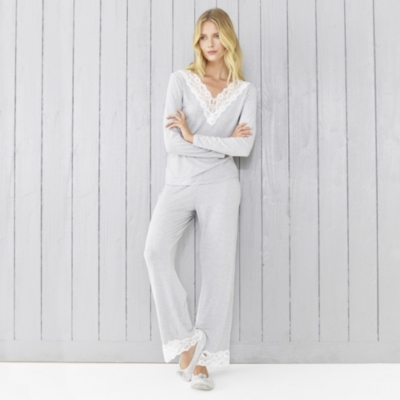 Stripe Lace Trim Long-Sleeve Pajamas Set