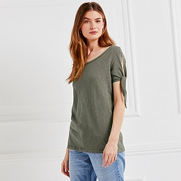 Cotton Sleeve Tie T-Shirt - Sage
