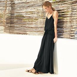 Silk Maxi Drawstring Dress