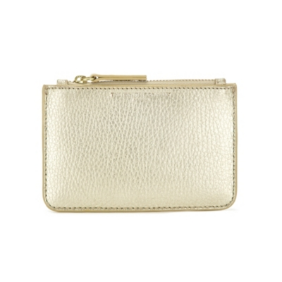 Small Zip Leather Purse - white gold