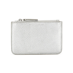 Small Zip Leather Purse - Silver