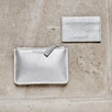 Leather Card Holder - Silver