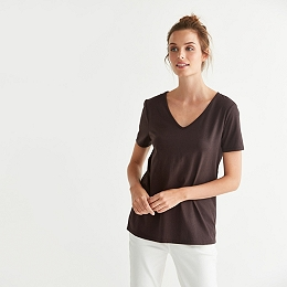 V Neck T-Shirt - Chocolate