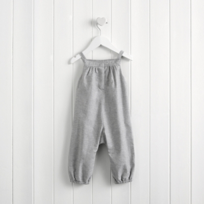 Smocked Flannel Dungarees