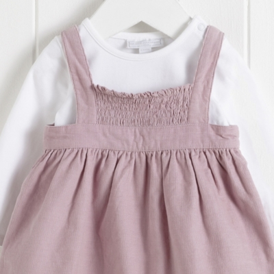 Smocked Cord Pinny & Bodysuit Set