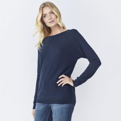 Slash Neck Batwing sweater - Navy Marl