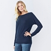 Slash Neck Batwing sweater - Navy Marl