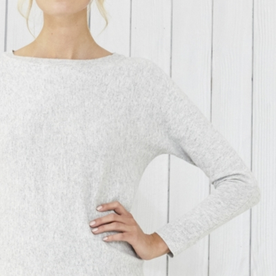 Slash Neck Batwing sweater - Cloud Marl