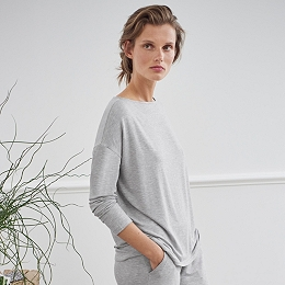 Slouchy Slash Neck Jersey Top
