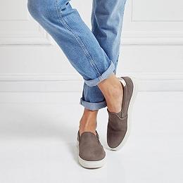 Nubuck Contrast Slip On Sneakers