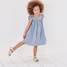 Spot Tassel Trim Dress (1-6yrs)