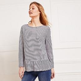 Linen Stripe Frill Hem Top