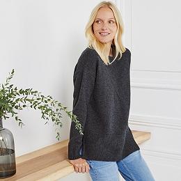 Merino Split Hem Chunky Sweater