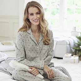 Star Print Flannel Pajama Shirt