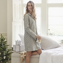 Star Print Flannel Nightshirt