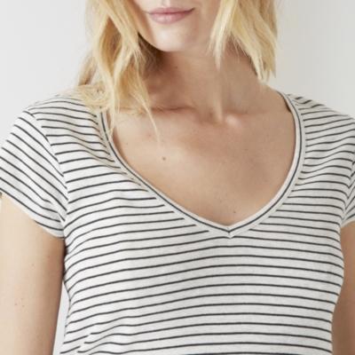 Striped V Neck T-shirt