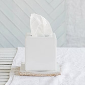 Ceramic Tissue Box Cover - White