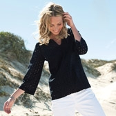Buy Cotton Broderie Notch Neck Top - Navy from The White Company