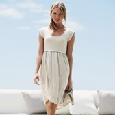 Buy Curved Hem Rolled Cuff Dress - Cloud Marl from The White Company