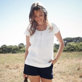 Buy Cap Sleeve Linen Top - White from The White Company