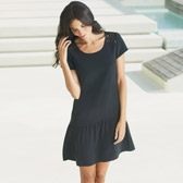 Buy Crochet Yoke Tiered Silk Dress - Black from The White Company