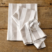Buy Wide Stripe Tea Towels - Set of 2 from The White Company