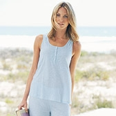 Buy Lace Slub Jersey Pyjama Top - Pale Blue from The White Company