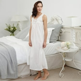 Buy Lace Insert Long Nightie - White from The White Company