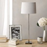 Buy Console Table Lamp with Oval Linen Shade from The White Company