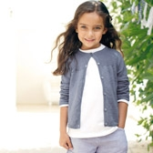 Buy Girls' Cotton Linen Rib Cardigan - Blue from The White Company