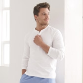 Buy Men's Henley T-Shirt - White from The White Company