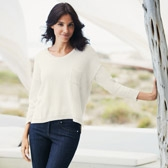 Buy Pocket Detail Sparkle Sweater - White from The White Company
