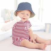 Buy Striped Polo Shortie - Red from The White Company