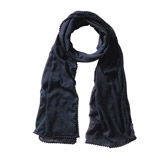 Buy Mini Pom Pom Scarf - Navy from The White Company