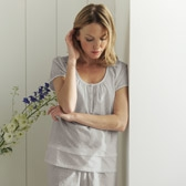 Buy Random Dobby Pyjama Top - Silver from The White Company