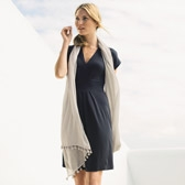 Buy Fine Check Tassel Scarf - Feather Grey from The White Company