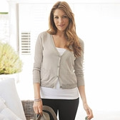 Buy Sequin Hem Cropped Cardigan - Feather Grey from The White Company