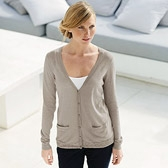 Buy Sequin Hem Long Cardigan - Taupe from The White Company