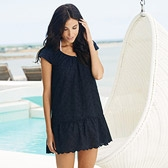 Buy Scallop Hem Broderie Tunic - Black from The White Company