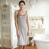 Buy Stripe Lace Strap Nightdress - Blush Grey from The White Company
