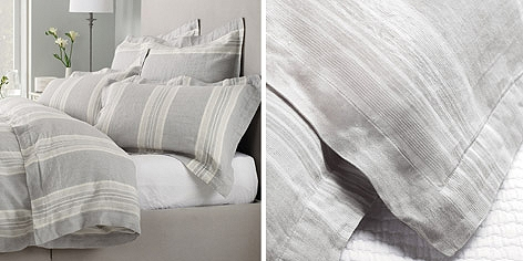 Buy Belgian Washed Linen Stripe Bed Linen from The White Company