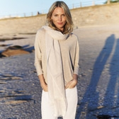Buy Striped Woven Scarf - Stone from The White Company