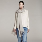 Buy Crinkle Stripe Woven Scarf - Limestone from The White Company