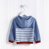 Striped Zip Through Hoodie - Blue
