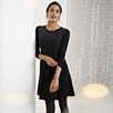 Scattered Sequin Knitted Dress - Black