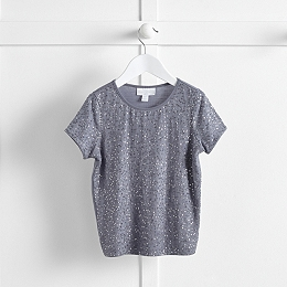 All Over Sequin T-Shirt - Soft Blue