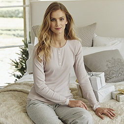 Sleep Rib Henley - Dusty Pink
