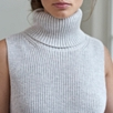 Sleeveless Chunky Roll Neck Sweater