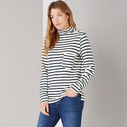 Stripe Raised Neck Top